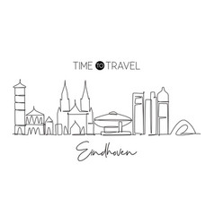 one single line drawing eindhoven city skyline vector image