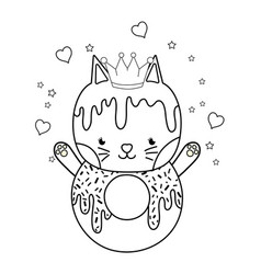 Outline kawaii cat donut with hearts and sars vector