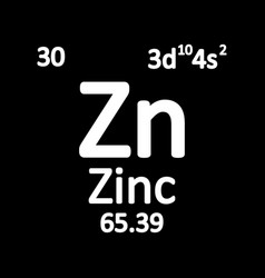 periodic table element zinc icon vector image