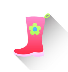 Pink rubber boots icon in flat style on a white vector
