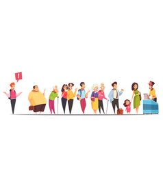 queue people characters vector image