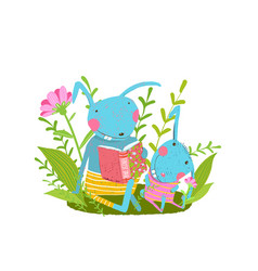 Rabbit cute family reading a book in forest vector