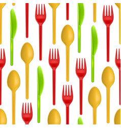 realistic detailed 3d plastic cutlery seamless vector image