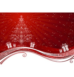 Red christmas tree background vector