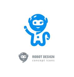 Robot logo astronaut-robot waving his hand vector
