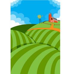 Rolling hills farmland with farm vector