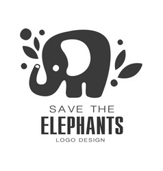 Save the elephants logo design protection of wild vector