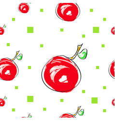 Seamless tileable texture with cherry fruit and gr vector