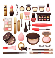 Set cosmetics in flat style vector