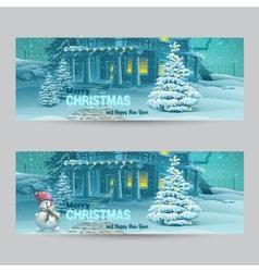 set horizontal banners with christmas and new vector image