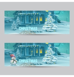 Set of horizontal banners with Christmas and New vector