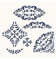 Set of ornamental floral elements for design vector