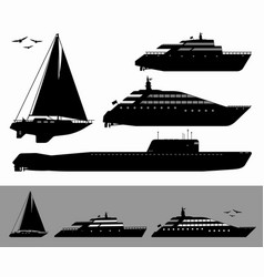 set ships black silhouettes vector image