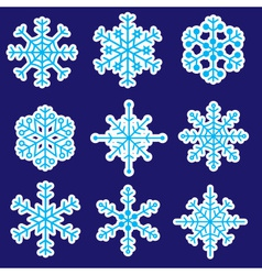 snowflakes stickers icons eps10 vector image