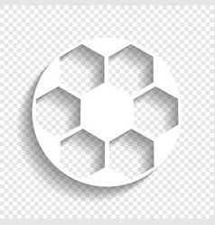 soccer ball sign white icon with soft vector image