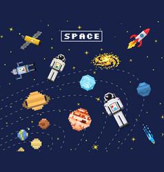 Space background alien spaceman robot rocket and vector