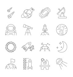 space icons astronomy theme outline style vector image