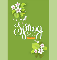 Spring background with flowers and lettering vector