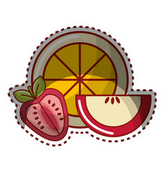Sticker orange strawberry and apple fruit icon vector