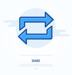 Thin line icon share exchange transfer vector