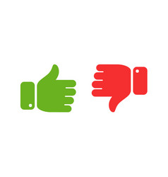 Thumbs up and down icons yes no symbol vector