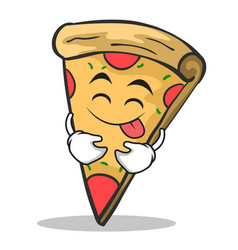 tongue out pizza character cartoon vector image