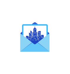 town mail logo icon design vector image