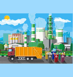 Urban cityscape with garbage car and factory vector