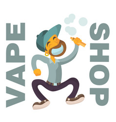 Vape shop logo with boy flat character vector
