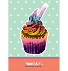 Vintage cupcake invitation water colour on mint vector