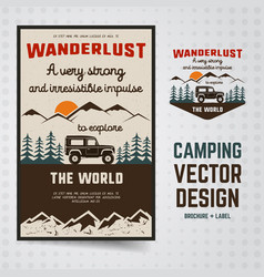 Wanderlust logo emblem and brochure template vector