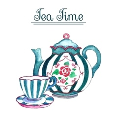 Watercolor teapot and cup vector
