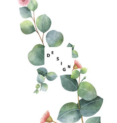 Watercolor template with green eucalyptus vector
