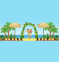 Wedding ceremony on the tropical beach newlyweds vector