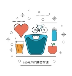 Weight heart juice bike icon Healthy lifestyle vector