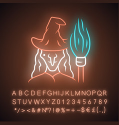 Witch neon light icon wicked sorceress hag vector