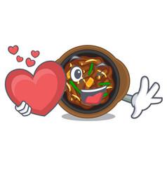 With heart bulgogi in a cartoon shape vector