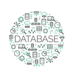 word database surrounded by icons vector image
