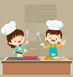 daughter cooking with mam vector image