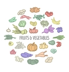 Fruit and vegetables doodles set vector image