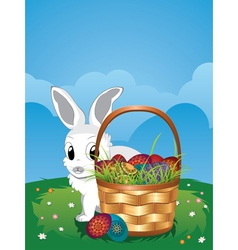 Easter Bunny with Eggs in the Basket5 vector image vector image