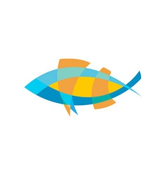 Fish logo template Color lines with flattened vector image vector image