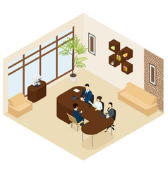 isometric business recruitment process template vector image vector image