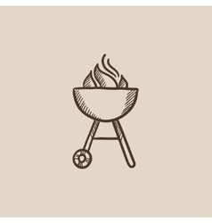Kettle barbecue grill sketch icon vector