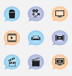 Set of 9 editable movie icons includes symbols vector