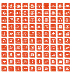 100 website icons set grunge orange vector image vector image
