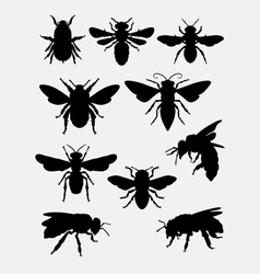 bee insect animal silhouette vector image