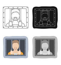 prisoner icon in cartoon style isolated on white vector image vector image