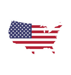 usa flag in a shape of us map silhouette united vector image