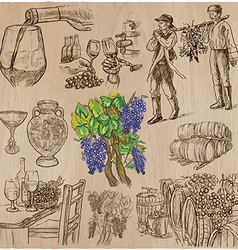 Wine harvest vintage - an hand drawn set vector